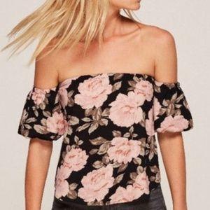 NWT Reformation Floral Black Off-Shoulder Top M